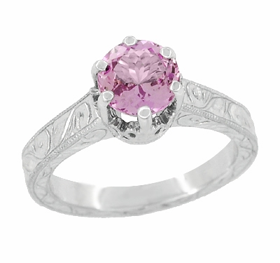 Art Deco Crown Filigree Scrolls 1 Carat Pink Sapphire Engraved Engagement Ring in 18 Karat White Gold - Item R199WPS - Image 1
