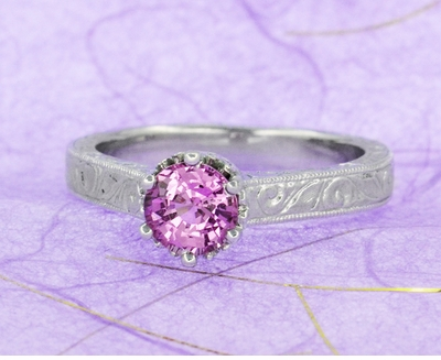 Art Deco Crown Filigree Scrolls 1 Carat Pink Sapphire Engraved Engagement Ring in 18 Karat White Gold - Item R199WPS - Image 7