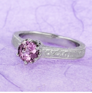 Art Deco Crown Filigree Scrolls 1 Carat Pink Sapphire Engraved Engagement Ring in Platinum - Item R199PPS - Image 7