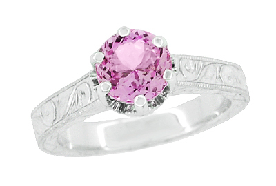 Art Deco Crown Filigree Scrolls 1 Carat Pink Sapphire Engraved Engagement Ring in Platinum