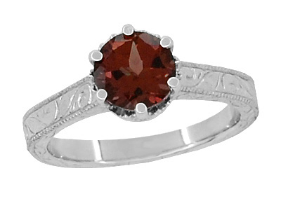 Art Deco Crown Filigree Scrolls Almandine Garnet Promise Ring in Sterling Silver