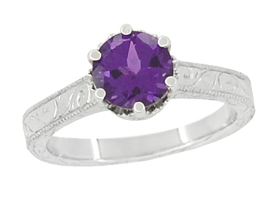 Art Deco Crown Filigree Scrolls Amethyst Engagement Ring in 18 Karat White Gold