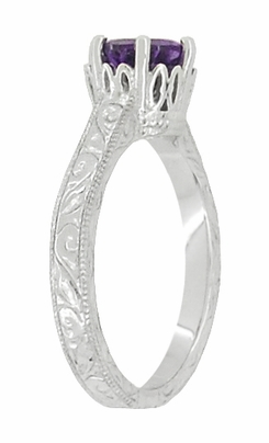 Art Deco Crown Filigree Scrolls Amethyst Engagement Ring in 18 Karat White Gold - Item R199WAM - Image 2