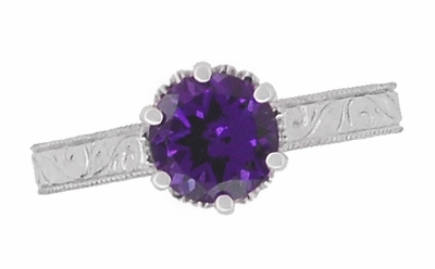 Art Deco Crown Filigree Scrolls Amethyst Engagement Ring in 18 Karat White Gold - Item R199WAM - Image 5