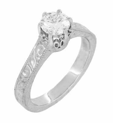 Art Deco Crown Filigree Scrolls Cubic Zirconia Solitaire Ring in Sterling Silver - Item SSR199CZ - Image 1
