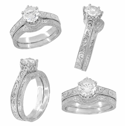 Art Deco Crown Filigree Scrolls Cubic Zirconia Solitaire Ring in Sterling Silver - Item SSR199CZ - Image 5