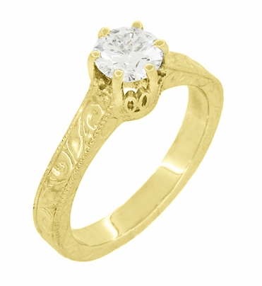Art Deco Crown Filigree Scrolls Engraved Solitaire Diamond Engagement Ring 18K Yellow Gold - Item R199YD50 - Image 1