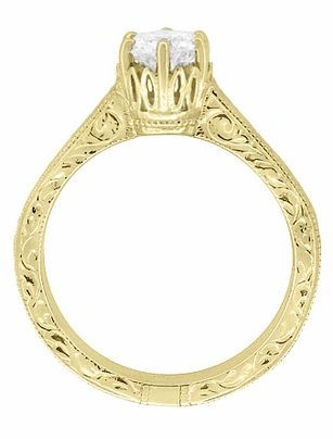 Art Deco Crown Filigree Scrolls Engraved Solitaire Diamond Engagement Ring 18K Yellow Gold - Item R199YD50 - Image 3