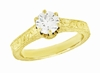 Art Deco Crown Filigree Scrolls Engraved Solitaire Diamond Engagement Ring 18K Yellow Gold