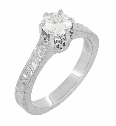 Art Deco Crown Filigree Scrolls Engraved White Sapphire Engagement Ring in 18 Karat White Gold - Item R199W50WS - Image 2