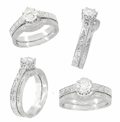 Art Deco Crown Filigree Scrolls Engraved White Sapphire Engagement Ring in 18 Karat White Gold - Item R199W50WS - Image 5