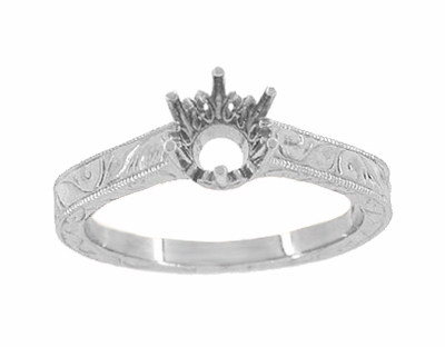 Art Deco Crown Filigree Scrolls Palladium 1/2 Carat Engagement Ring Setting | 5mm - 5.5mm Mount - Item R199PDM50 - Image 2