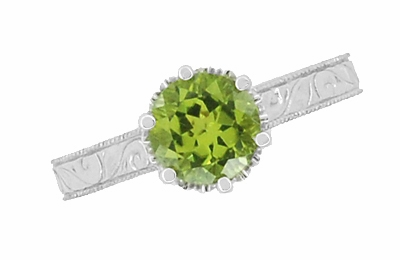 Art Deco Crown Filigree Scrolls Solitaire Peridot Engagement Ring in 18 Karat White Gold - Item R199WPER - Image 4