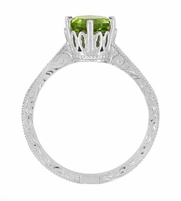 Art Deco Crown Filigree Scrolls Solitaire Peridot Engagement Ring in 18 Karat White Gold - Item R199WPER - Image 5