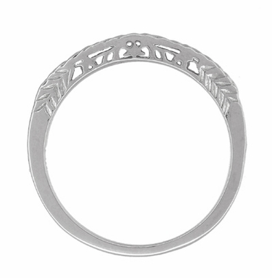 Art Deco Crown of Leaves Curved Filigree Carved Wedding Band - 18K White Gold - Item WR299W1 - Image 2