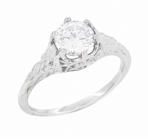 Art Deco Crown of Leaves Filigree 3/4 Carat Engagement Ring Setting in 18 Karat White Gold - Item R299 - Image 4
