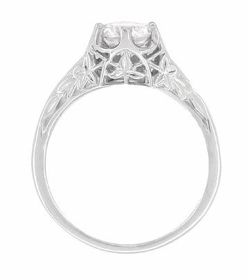 Art Deco Crown of Leaves Filigree 3/4 Carat Engagement Ring Setting in 18 Karat White Gold - Item R299 - Image 5