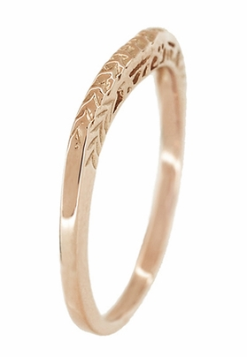 Art Deco Crown of Leaves Filigree Curved Engraved Wedding Band in 14 Karat Rose Gold - Item WR299R50 - Image 3