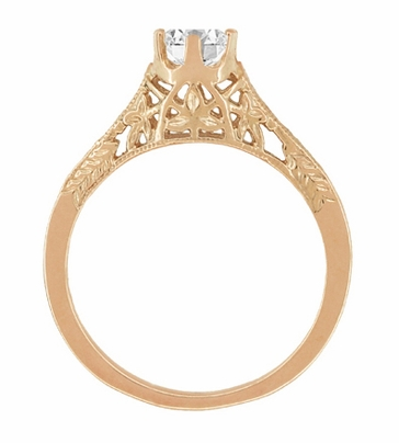 Art Deco Crown of Leaves Vintage Filigree 1/2 Carat Diamond Solitaire Engagement Ring in 14 Karat Rose Gold - Item R299R50D - Image 3