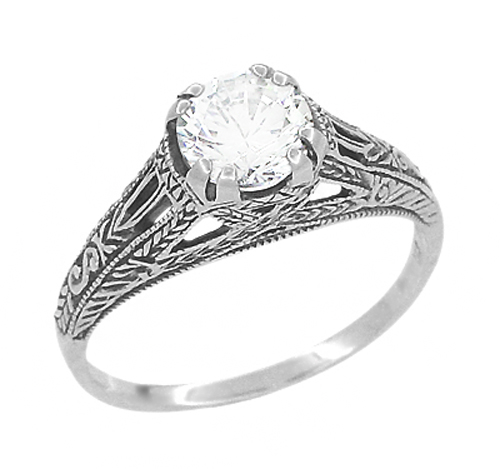 filigree engraved promise ring in sterling silver antique inspired in italy wedding - Cheap Vintage Wedding Rings