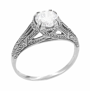 Art Deco Cubic Zirconia ( CZ ) Filigree Engraved Engagement Ring in Sterling Silver | Antique Inspired - Item SSR2CZ - Image 1