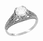 Art Deco Cubic Zirconia ( CZ ) Filigree Engraved Promise Ring in Sterling Silver | Antique Inspired
