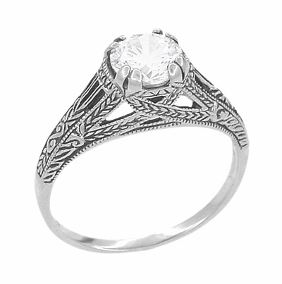 Art Deco Cubic Zirconia ( CZ ) Filigree Engraved Promise Ring in Sterling Silver | Antique Inspired - Item SSR2CZ - Image 1