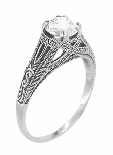Art Deco Cubic Zirconia ( CZ ) Filigree Engraved Engagement Ring in Sterling Silver | Antique Inspired - Item SSR2CZ - Image 2