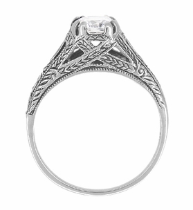 Art Deco Cubic Zirconia ( CZ ) Filigree Engraved Engagement Ring in Sterling Silver | Antique Inspired - Item SSR2CZ - Image 3