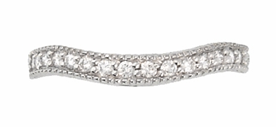 Art Deco Curved Carved Wheat Diamond Wedding Band in 14 Karat White Gold - Item WR1139W14 - Image 1