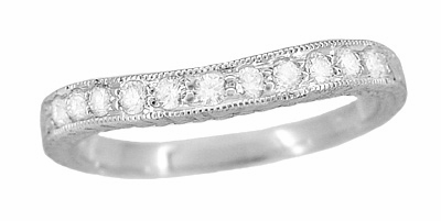 Art Deco Curved Engraved Wheat Diamond Palladium Wedding Band - Item R635PDMD - Image 1