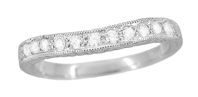 Art Deco Curved Engraved Wheat Diamond Wedding Band in 14 Karat White Gold