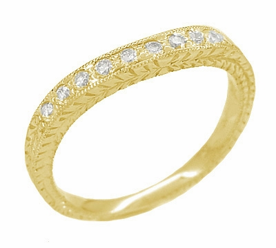 Art Deco Curved Engraved Wheat Diamond Wedding Band in 14 Karat Yellow Gold - Item R635Y14D - Image 1