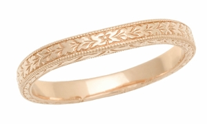 Art Deco Curved Engraved Wheat Wedding Band in 14 Karat Pink ( Rose ) Gold