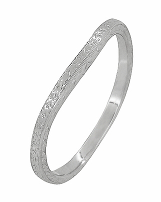 Art Deco Curved Engraved Wheat Wedding Ring in 14 Karat White Gold - Item R1166W - Image 1