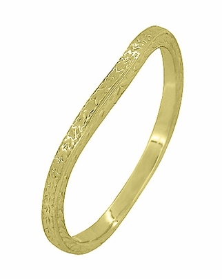 Art Deco Curved Engraved Wheat Wedding Ring in 14 Karat Yellow Gold - Item R1166Y - Image 1