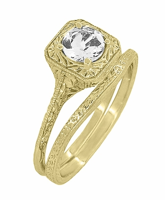 Art Deco Curved Engraved Wheat Wedding Ring in 14 Karat Yellow Gold - Item R1166Y - Image 2