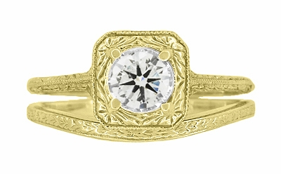 Art Deco Curved Engraved Wheat Wedding Ring in 14 Karat Yellow Gold - Item R1166Y - Image 4