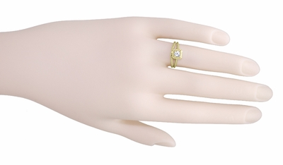 Art Deco Curved Engraved Wheat Wedding Ring in 14 Karat Yellow Gold - Item R1166Y - Image 5