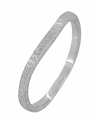 Art Deco Curved Engraved Wheat Wedding Ring in Platinum - Item R1166P - Image 1