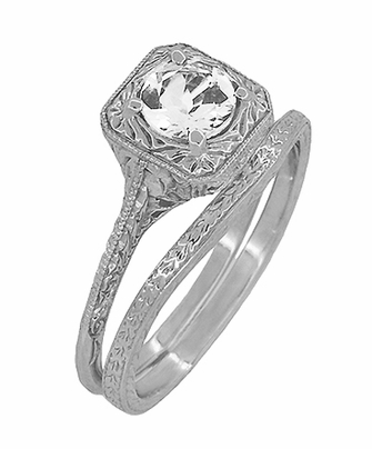 Art Deco Curved Engraved Wheat Wedding Ring in Platinum - Item R1166P - Image 2