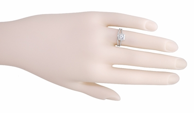 Art Deco Curved Engraved Wheat Wedding Ring in Platinum - Item R1166P - Image 5