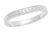 Art Deco Vintage-Inspired Carved Wheat Curved Wedding Band in Sterling Silver