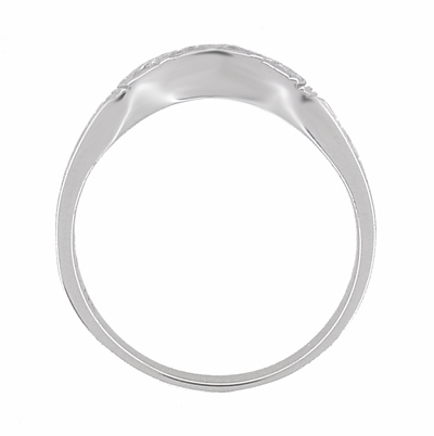 Art Deco Curved Wedding Band in 14 Karat White Gold - Item R717W14 - Image 4
