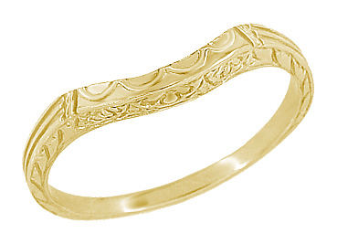 Art Deco Curved Wedding Band in 18 Karat Yellow Gold