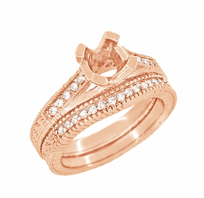 Art Deco Curved Wheat Diamond Wedding Band in 14 Karat Rose Gold - Item WR1153R - Image 5