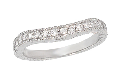 Art Deco Curved Carved Wheat Diamond Wedding Band in 14 Karat White Gold