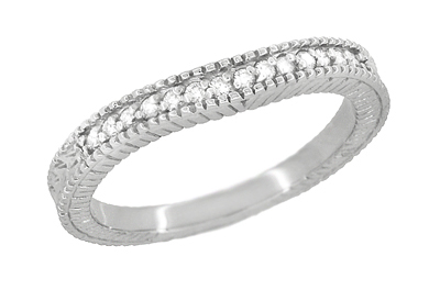 Art Deco Carved Wheat and Diamonds Curved Wedding Band in 18K White Gold