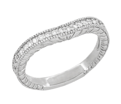Art Deco Curved Wheat Diamond Wedding Band in 18 Karat White Gold