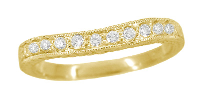 Art Deco Curved Wheat White Sapphire Wedding Band in 18 Karat Yellow Gold